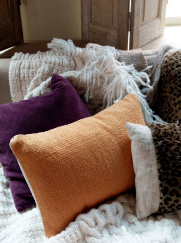 """These warm pillows are from our feature """"Home with a Glow"""""""