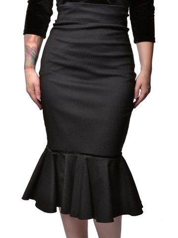 Black  White Pinstripe Maria Skirt by Rock Steady at Anomalie Clothing - This skirt features tiny white pinstripes on soft black stretch fabric, mermaid style fit and flare design. This vintage inspired dress has a classy mobster look that will cling to your curves and make you look amazing!