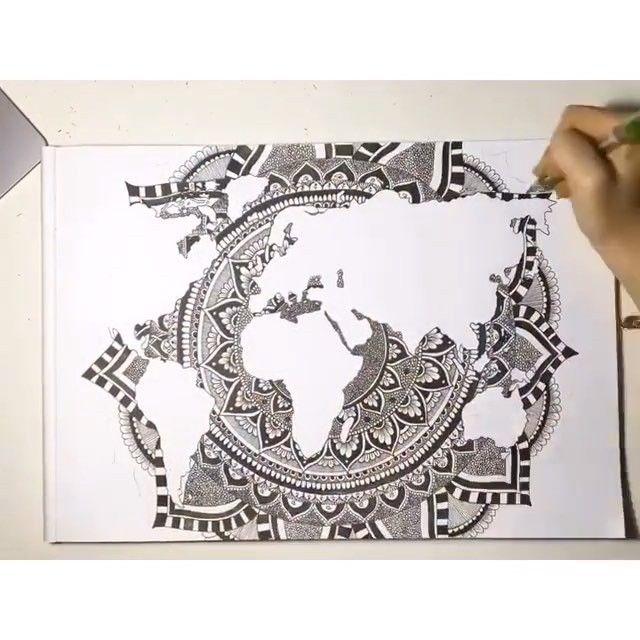 Beautiful mandala world map by @creativee.minds  #world #globe #map #water…