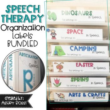 New product 50% discount!! Ends Tuesday at 10pm End of the Year packing up your speech room made EASY! All the therapy themes and topics for speech and language you work on in one place. Clear, consistent labels designed to get you organized and easily identify YOUR resources! *Multiple sizes of labels and 1 inch binder spines/covers  Included: Speech Therapy Organization Bin Labels  Speech Therapy Binder Labels Articulation Binder Labels  This product is not editable.