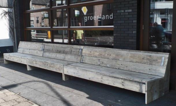 Tuinmeubelen van Steigerhout | steigerhouten bank voor achtertuin, zonder leuningen maakt opener Door JontiWorks