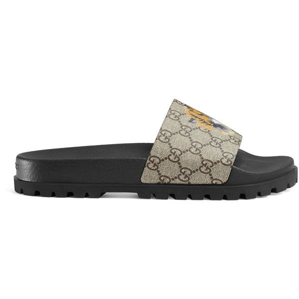 Gucci Gg Supreme Tiger Slide Sandal ($340) ❤ liked on Polyvore featuring men's fashion, men's shoes, men's sandals, men, sandals & thongs, shoes, beige mens dress shoes, mens canvas shoes, gucci mens sandals and mens sandals