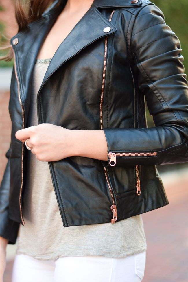 little styled life | Ted Baker black leather jacket with rose gold hardware