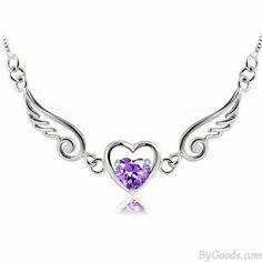 Engel Liebhaber Flügel Herz Silber Halskette nur $ 28.9