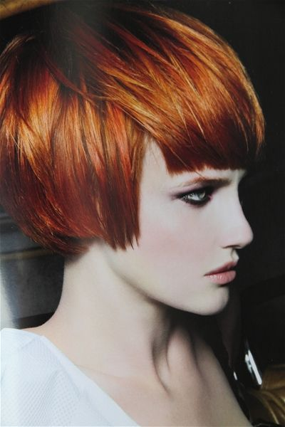 This is about my hair color right now. The cut is different, but it's short with various shades of red & copper.