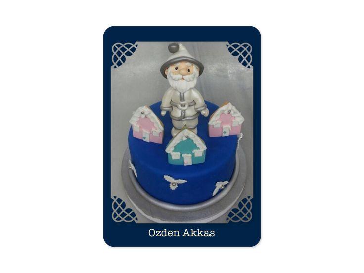 Chrıstmas cake blue santa