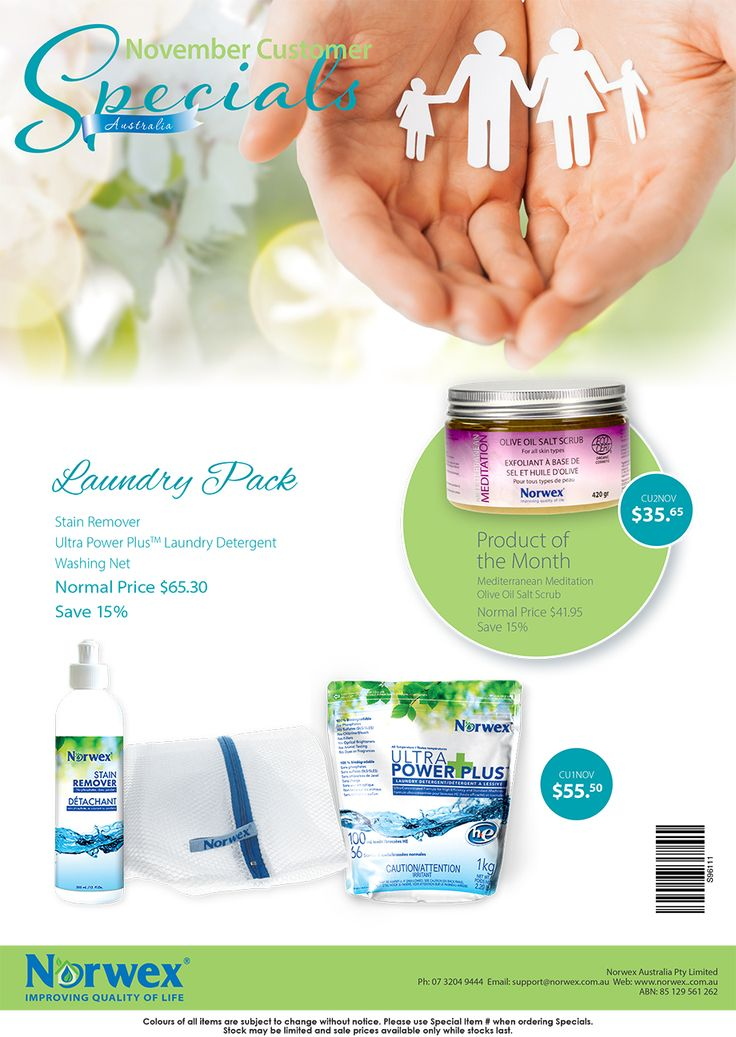 Norwex Australia November customer specials 2016 - ultra power plus laundry detergent, laundry bag and stain remover - product of the month - Mediterranean salt scrub