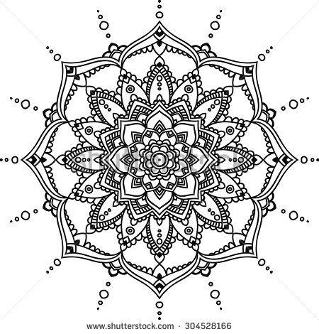 Simple black indian mandala on the white background.