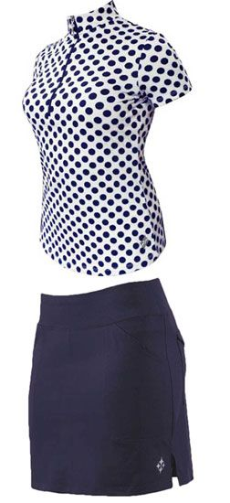 4all by JoFit Ladies Golf Outfits (Shirt & Skort) - Oasis (Navy & White)