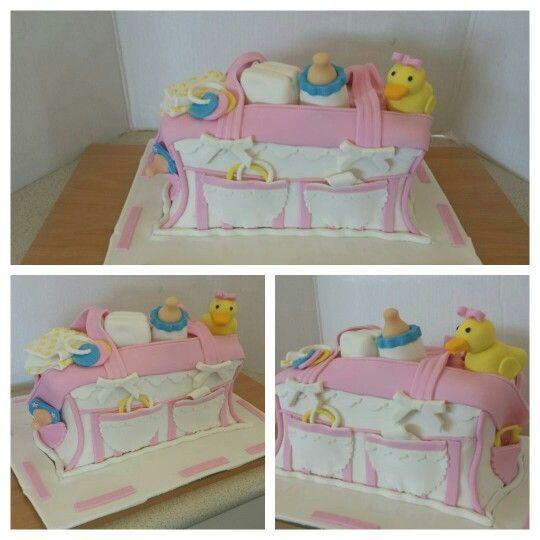 Nappy bag baby shower cake