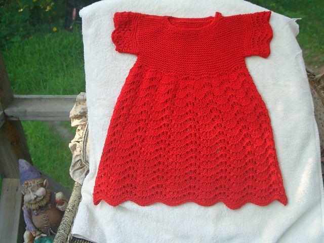 Knitting Patterns For Baby Dresses : Free Knit Baby Dress pattern by Coats & Clark Knitting: Baby / Girl Dre...