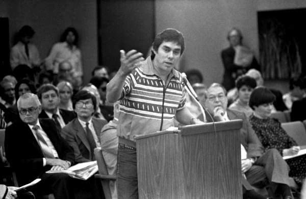 Chairman of the Seminole Tribe James E. Billie speaking at a meeting - Tallahassee, Florida.