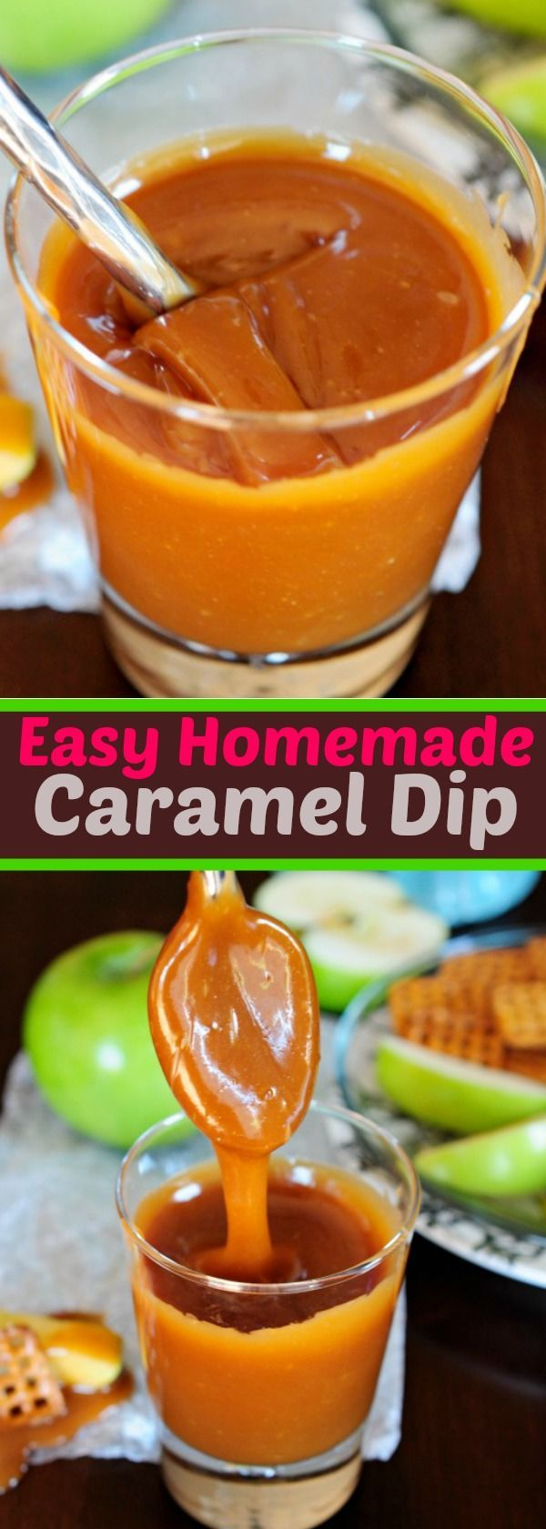 This is my go-to caramel dip recipe.  No additives and No candy thermometer needed!