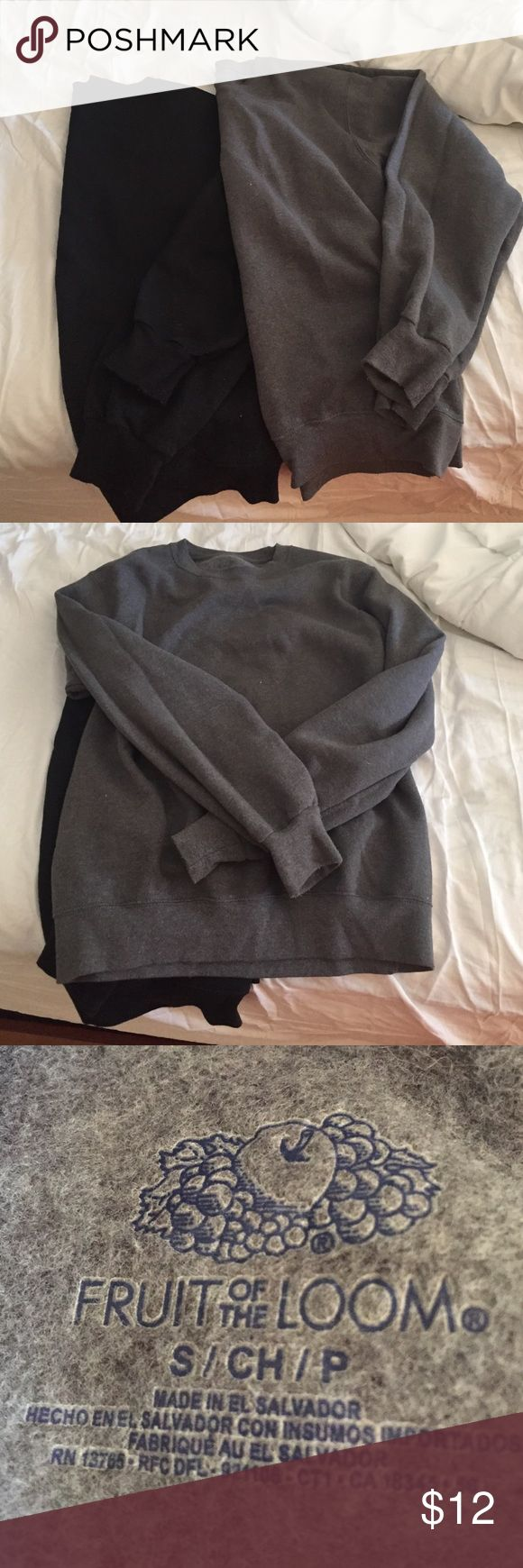 Fruit of the loom sweat shirts (2) Fruit of the loom sweat shirts (2); both size small. worn/washed/used. no trades Fruit of the Loom Tops Sweatshirts & Hoodies
