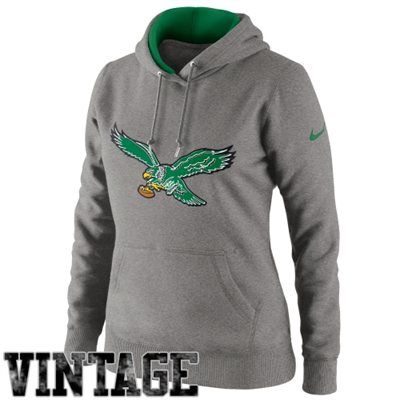 Nike Philadelphia Eagles Ladies Retro Tailgater Pullover Hoodie - Ash
