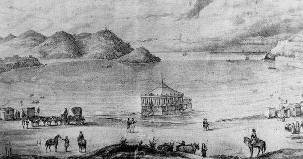 Caseta de baños construída para la reina Isabel II en la playa de San Sebastián. Litografía de G.Carpenter, 1845