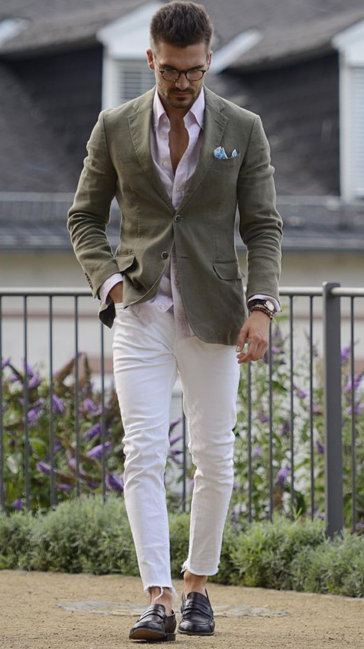 Green T-shirt, white pants, and suede shoe. Find this Pin and more on Men's Fashion and style by Royal Fashionist. 40 Alluring Men's White Jeans Outfit .
