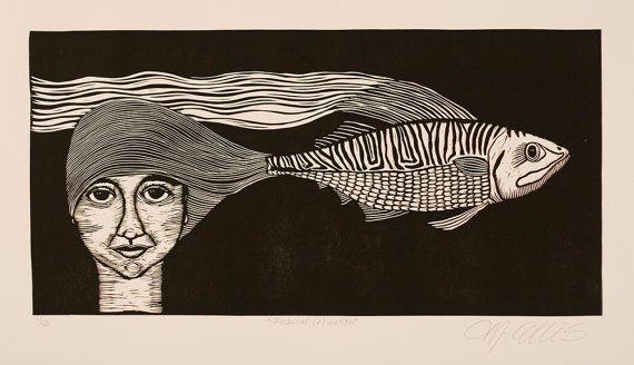 linocut, Fishical emotion, black and white, portrait, fish, contemporary art, black, cream, printmaking, modern art, home interior, stripes
