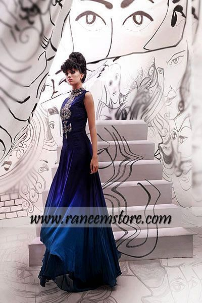 Pakistani Evening wear gown dress online, Pakistani Designers Party wear dresses Chicago USA $425.00 Top/Gown: Chiffon long gown in Cobalt blue. Heavy embellishment at front and neck around. Turtle neck. Multi layers on hemline. Godet added on side seam. Sleeveless styling. Stitched with soft lining