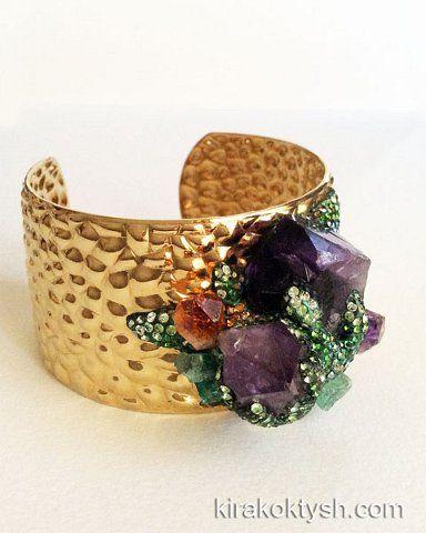 "Kira Koktysh Jewelry Cuff Bracelet ""Stone Flower"" (Materials: 18k Gold over Stainless Steel Textured Cuff Bracelet,Amethyst, Citrine, Raw emeralds,Swarovski crystals )"