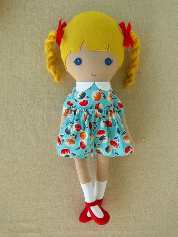Fabric Doll Rag Doll Blond Haired Girl with Braids in Blue Fruit Print Dress