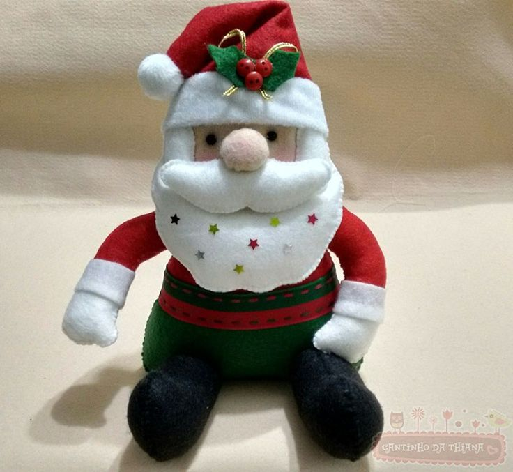 Passo a Passo: Papai Noel de Feltro Sentado - Cantinho da Thiana | Feltros, Artesanato e mais