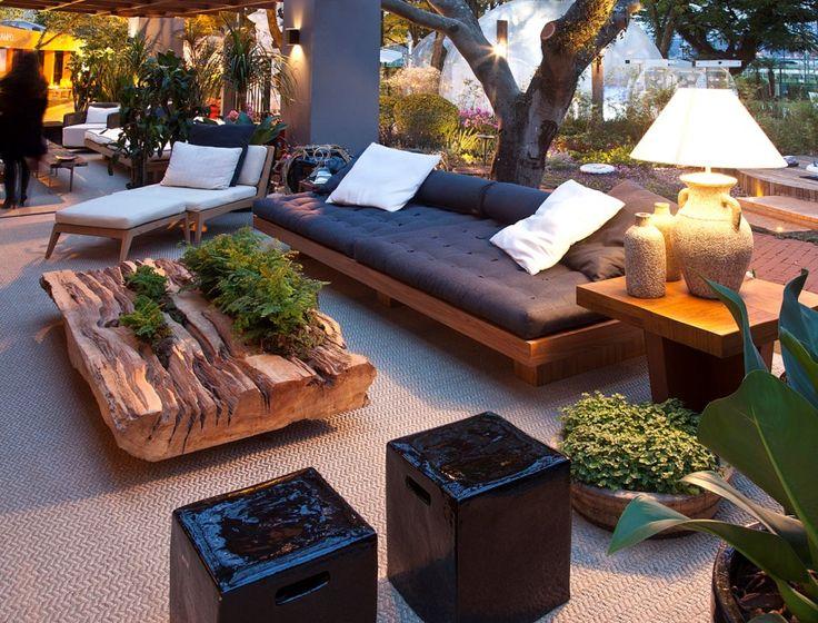 Debora Aguiar Casa Cor SP 2012- beautiful coffee table...love the gray upholstery