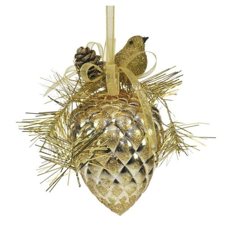 Weiste gold round pine cone, a set of two high quality shatterproof Christmas tree decorations. | Gold Decorations | Crusader Gifts : gives me an idea!