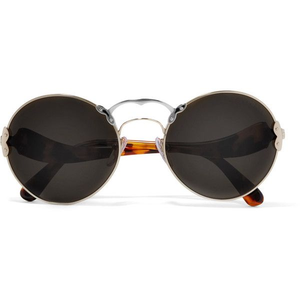 Prada Round-frame acetate and metal sunglasses ($315) ❤ liked on Polyvore featuring accessories, eyewear, sunglasses, prada, tortoiseshell, prada glasses, round sunglasses, round metal frame sunglasses, prada eyewear and tortoise sunglasses