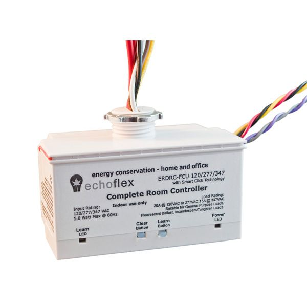 Echoflex's  Smart Space Controller, the ERDRC-Complete Room Controller is an energy controls system to itself, ideal for distributed control. - 120,277@20A or 347V@15A with 0-10V dimming and occupancy sensor support.  When used in conjuction with an occupancy sensor and an Echoflex wireless photosensor, the controller will turn the lights OFF, when the space is vacant and if occupied, will dim the artificial light contribution in relation to the available natural light.