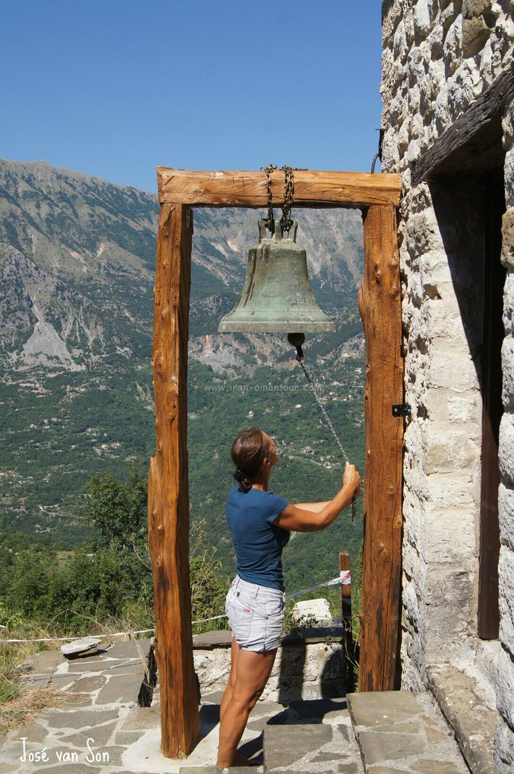 Ring the bell at Moni Chrisospiliotissis near Gouriana, Epirus - Arta Tzoumerka - Athamanon mountains, Greece..... The temple took its present form in 1663, when probably an older temple was renovated. Murals and carved wooden iconostasis date back to 1801. It is located at Tziouma, near Gouriana village at the Tzoumerka Mountains. It is a monastery of Virgin Mary and is dedicated in the Nativity of Theotokos. It was named after this according to the tradition that a golden icon of Virgin…