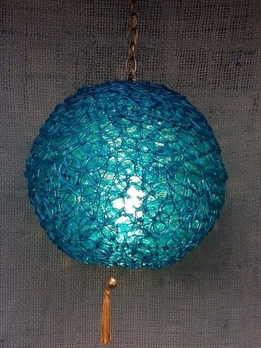 Mid Century Modern Teal Lucite Spaghetti Glass Large Swag
