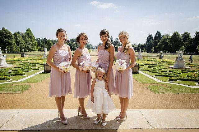 Beautiful maids at wedding at Wrest Park, Silsoe.  Flowers by www.wildorchidweddingflowers.co.uk