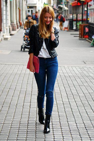H&M Jacket, Dorka Petrity Pink Clutch, H&M Jeans, Zara Boots