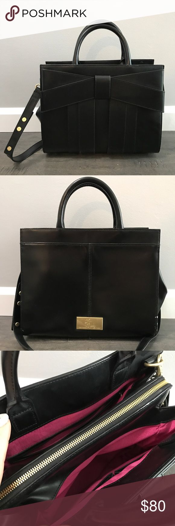 """Z Spoke by Zac Posen Handbag Condition  - Gently used - Pre-owned. Excellent condition. Few minor scratches on leather   Description  - Exterior: Leather. Rolled handles. Gold toned hardware - Removable and adjustable shoulder strap - Interior: Pink woven lining. Back wall zip pocket. Two slip pockets. Zip closure  Designer: Z Spoke by Zac Posen Material: Leather Color: Black Approx measurements: 12""""L x 10""""H x 41/2""""D Handle Drop: 4"""" Strap length: 38"""" Z Spoke by Zac Posen Bags Satchels"""
