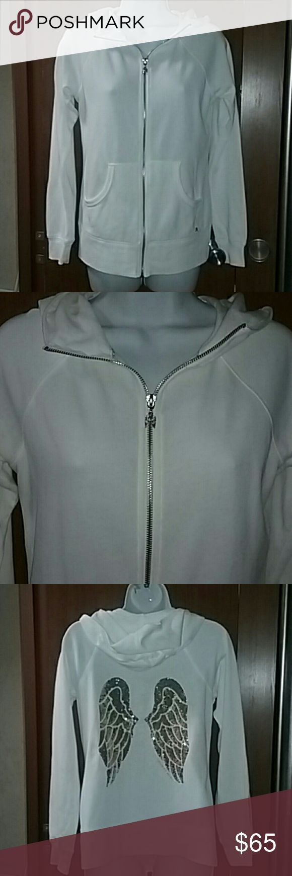Victoria Secret sequin angel wings hoodie X s Women's white angel wings hoodie zips up the front has two pockets in the front and has Blended sequin gold angel wings this hoodie has never been worn but has no tags size extra small Victoria Secrets Other