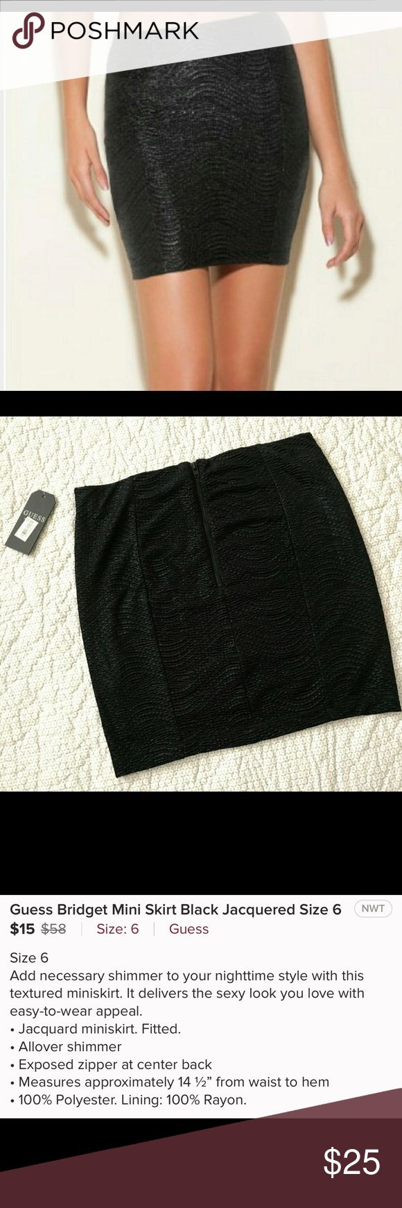 Black mini skirt New with tags! Purchased on Poshmark, it's just a little too short for me. Also i would say it fits more like a 4 than a 6 Guess Skirts Mini