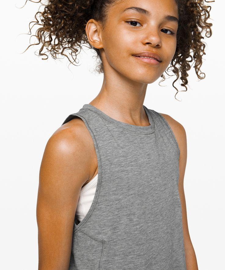lululemon Luminous Muscle Tank - Girls, Heathered Core Medium Grey, Size 10 3
