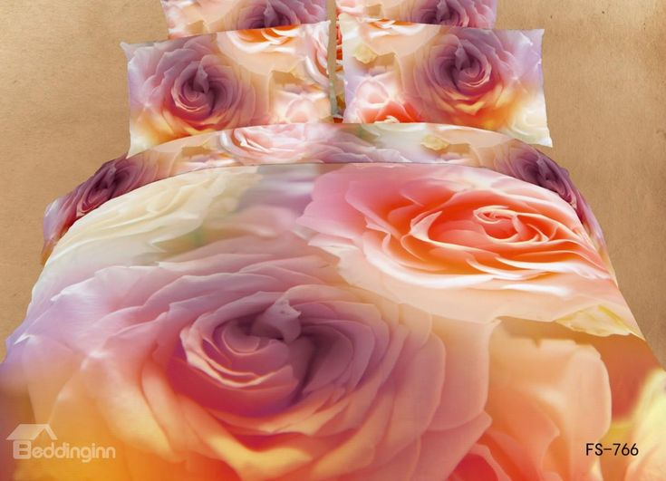 Charming Orange Roses Print 3D Bedding Sets #rose #flower #bedding @bedding inn