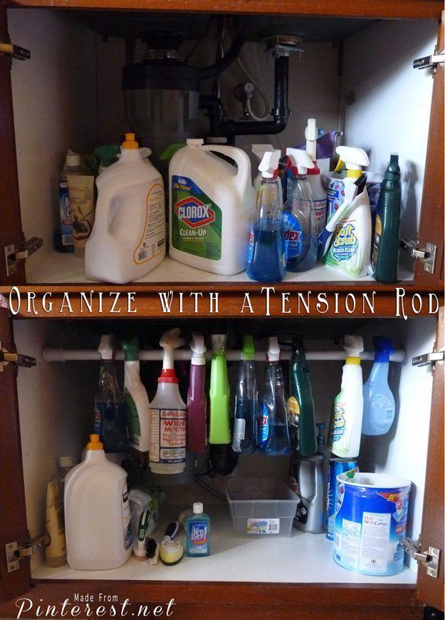 Tension Rod Ideas | Easy Storage Organization Hack by DIY Ready at http://diyready.com/organization-hacks-diy-storage-ideas/