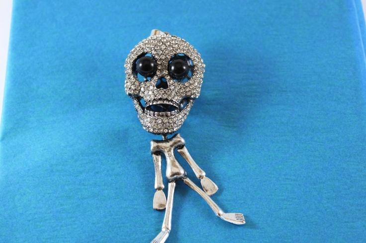 Metal Skull Pendant dangling with rhinestones by RunwayTreasures. $12 OMG I want him!!!!
