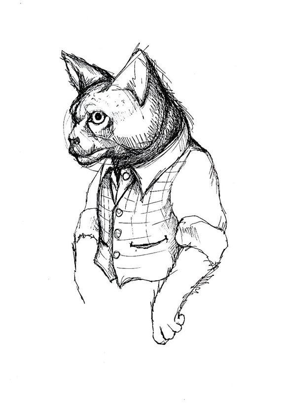 Mr Cat Illustration by BeastsandBirdies on Etsy, £30.00