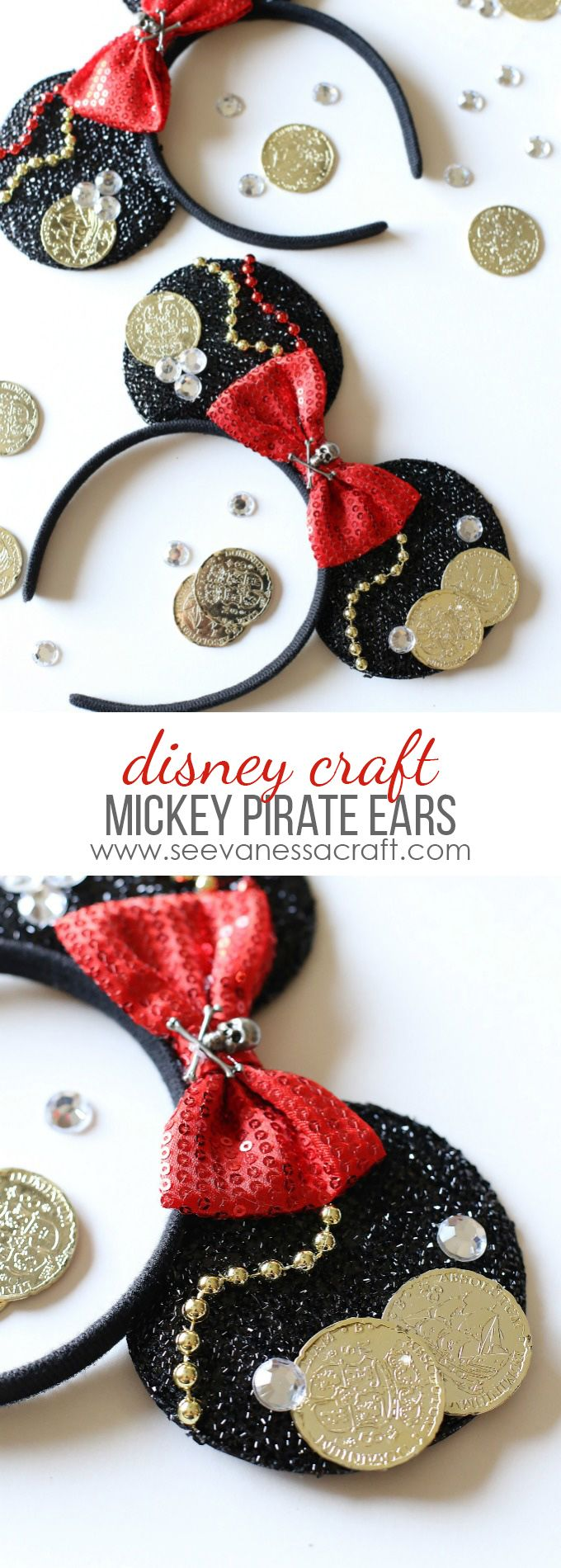 Pirate Mickey Mouse Ears Tutorial  - Perfect for a Disney Cruise or as part of a Halloween costume!