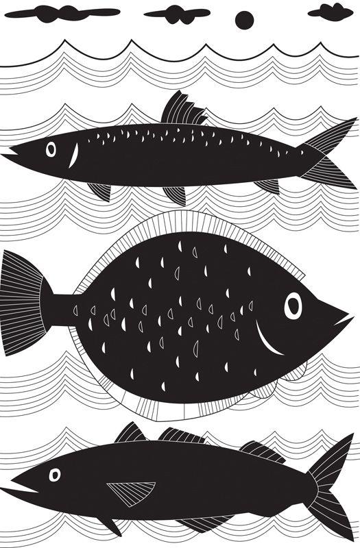 #joannakerr #newdivision #illustration #flatgraphic #line #fish #sea