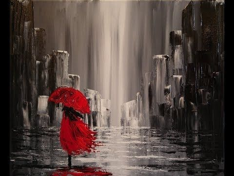 A walk in the rain Step by step Acrylic painting on canvas for beginners – YouTube