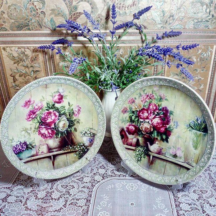 """Дуэт тарелок """"Цветы Прованса"""" для  замечательной девушки Олеси."""