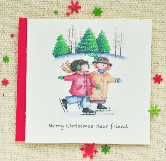 Cute Christmas Card Friend Christmas Card by LittleLightCardCo