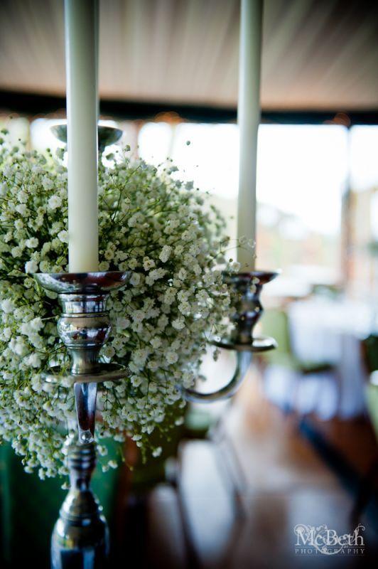 Gypsophilia candelabra centrepiece | wedding decorations ...