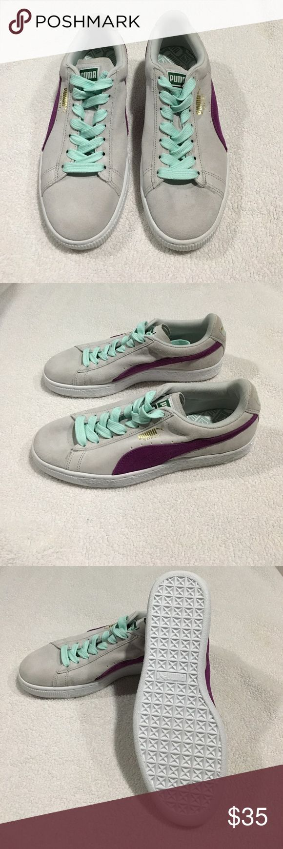 Puma Classic Suede Women's Sneaker Brand new condition Puma Classic Suede Women's Sneaker Light Grey and Purple with mint laces. Women's size 9. Great sneaker for upcoming spring season! Does not include sneaker box. Puma Shoes Sneakers
