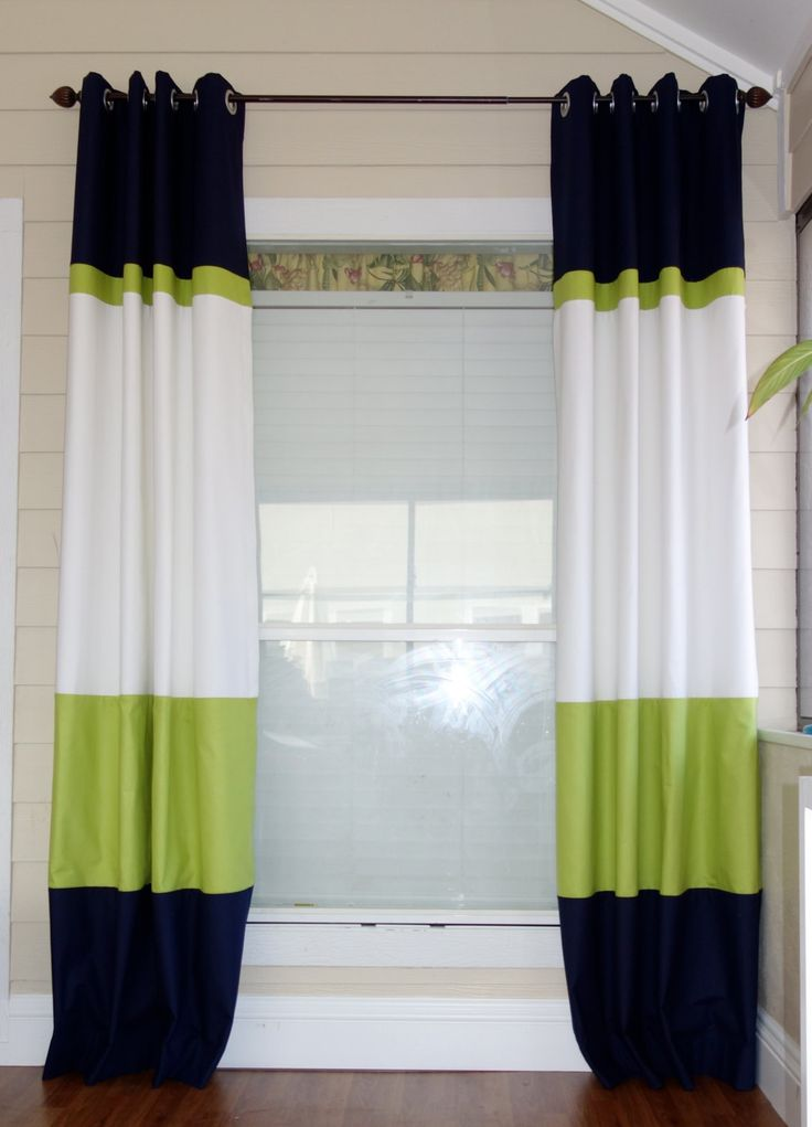 Color block curtain panels. LOVE this idea for the sliding glass door with a shower tension rod inside the frame instead of curtain rod!